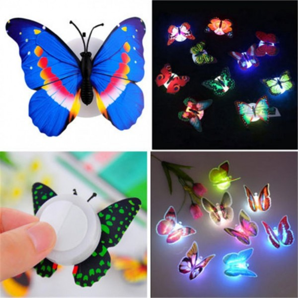 Pack of 6 - Glow In The Dark Led Butterfly Night Light Led Color Changing For Kids Room Glowing