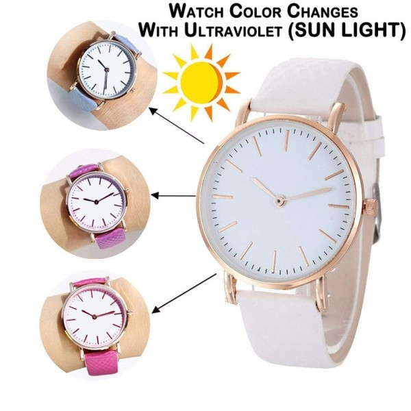 Pack of 2 - Magic Color Changing UV Analog Water Proof Wrist Watch For Men and Women