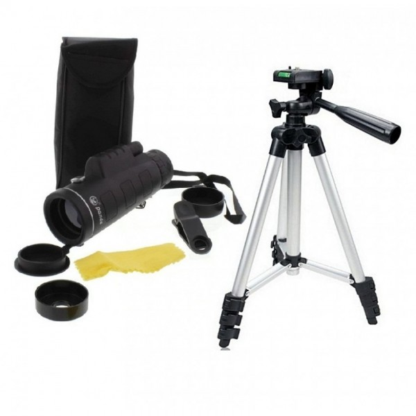 Panda 40-60 Binoculars Lens With 3110 Tripod Stand- Black&Silver