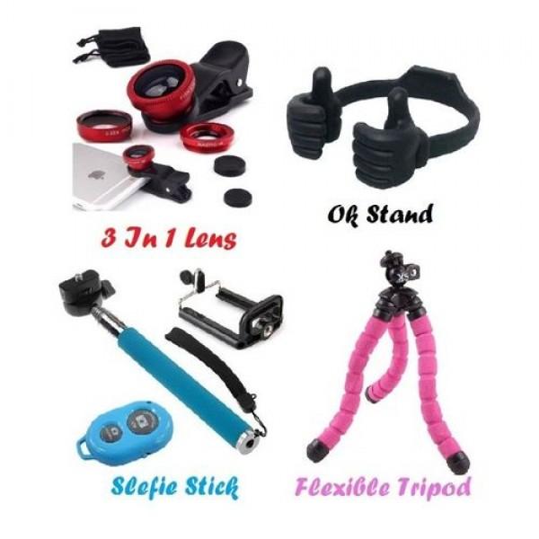 Selfie Stick - Flexible Tripod - 3 in 1 Lens - Ok Stand