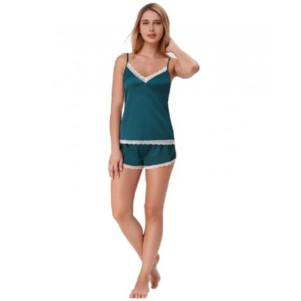 TEAL CAMI SET WITH WHITE COLOR LACE - CAMI-006