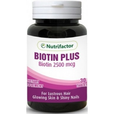 Nutrifactor Biotin Maximum Strength Tablets for Healthy Hairs, Nails and Skin 10000Mcg 60 Count