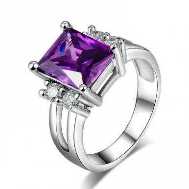 Silver Color Princess Cut Big Purple Crystal Ring