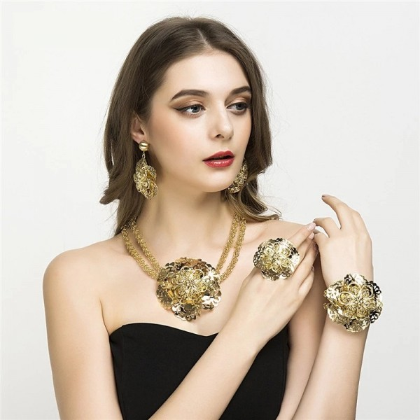 Gold Plated Fashion Flower Party Set - New Year Special