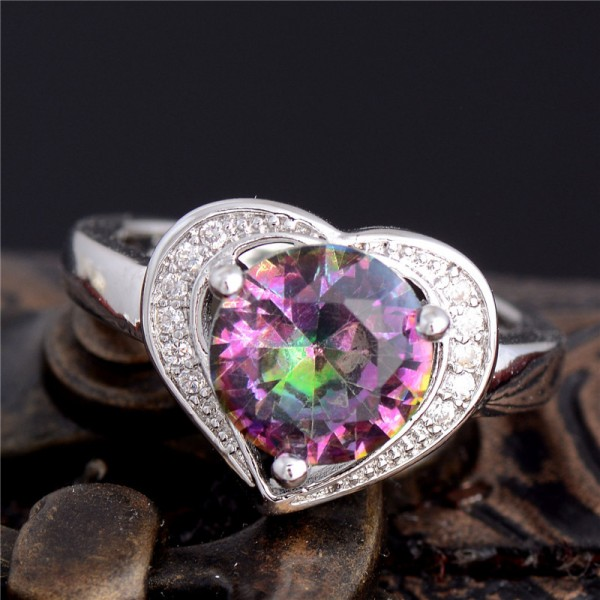Heart Cut Rainbow Sapphire Fashion Silver Ring for Her