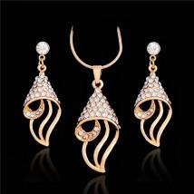 Elegant Gold Plated Austrian Crystal Rhinestone Pendant Set for Her