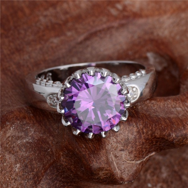 Silver Purple Cubic Zirconia Trendy Charming Ring