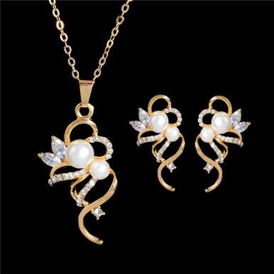 High Quality Austrian Crystal Imitation Pearl Jewellery Set