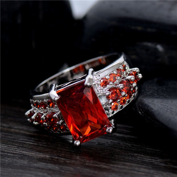 Sterling Silver Red Cubic Zirconia fashion party Ring