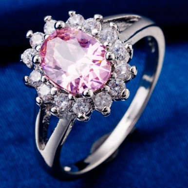 Flowers Design White Pink Crystal Rhinestone Classic Ring For Her