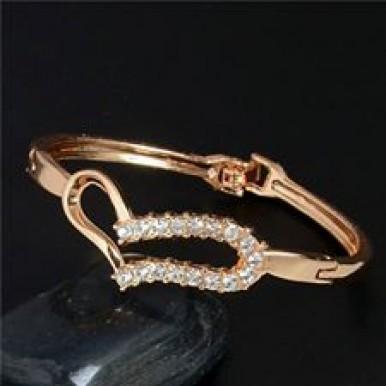 Gold plated Heart Bangle Bracelet,Eid Speacial Gift