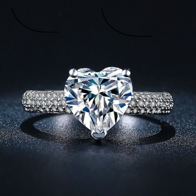 Heart shape white gold plated Ring for Her