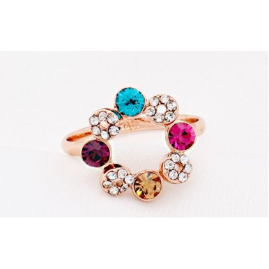 18K Rose Gold Plated Austrian Crystal Ring for Her A117