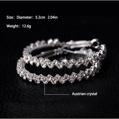 Crystal hoop earrings Round Shiny rhinestone big earring