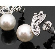 Cute Silver Alloy Butterfly Pearl Studs