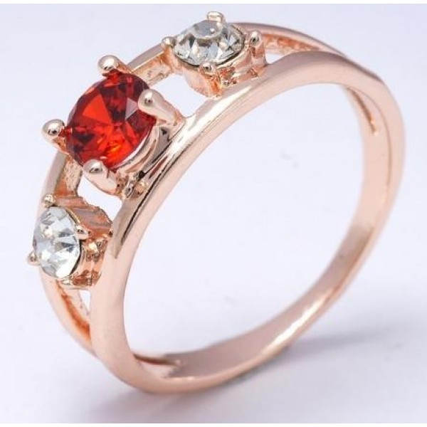 Red 18K Rose Gold Filled Cubic Zircon Ladies Ring
