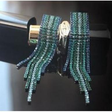 Long Tassel Colorful Rhinestone Earrings