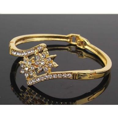 18k Yellow Gold Filled Austrian Crystal 2 Flower Bracelet Bangle