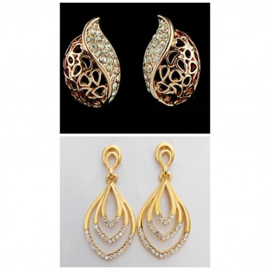 Pack of 2 Earrings Gold Plated For Her A333