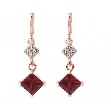 18K Rose Gold Filled red long Earrings shine