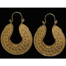 Attractive Gold Plated Retro Pattern Round Earring For Her