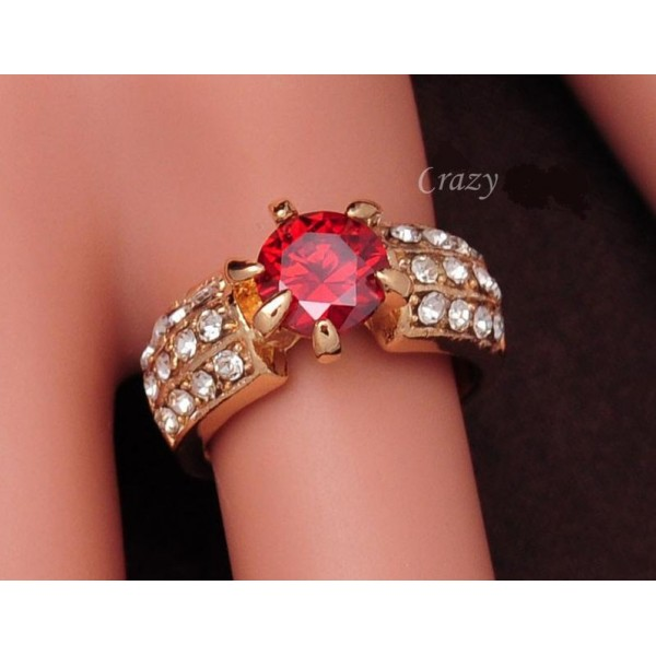 Red Zircon White Gold Plated  - Speacial New Year Gift