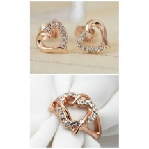 Crystal 18K Rose Gold Plated Stud Earings and Ring