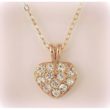 Heart Pendant Necklace Gold Plate/Platinum Plating Austrian Crystal Full Rhinestone Necklce Jewelry