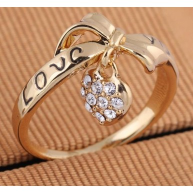 Love Heart Bow Rings Gold Plated wedding Austrian Crystal
