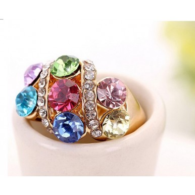Gorgeous 18K Gold Plated Ring Synthetic Diamond Crystal