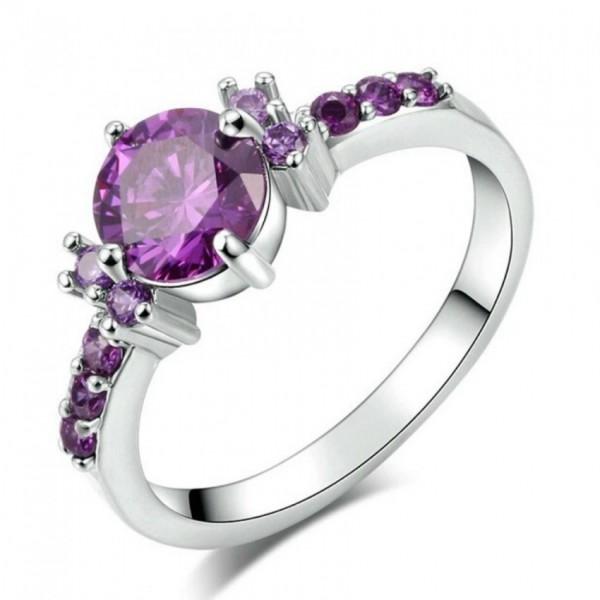 White Gold Plated Fashion Elegant Purple Crystal Wedding Engagement Ring For Women
