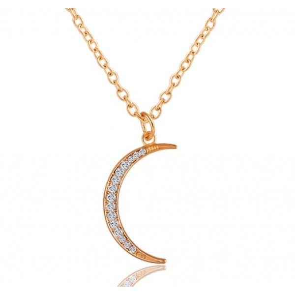 Hot Gold Plated Flower Hollow Moon Necklace For Her