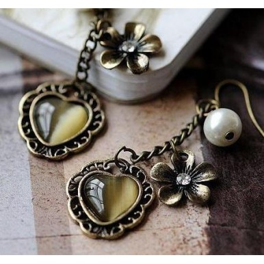 Sale offer - Fashion Lovely Metal Flowers Peach Heart Ladies Earrings
