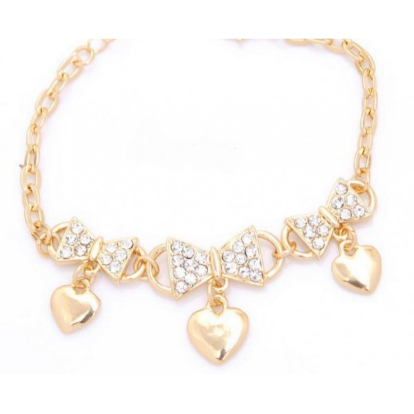 18k Gold Plated Women Rhinestone Bow and Heart Shape Bracelet For Her