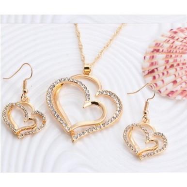 Romantic Heart Pattern Crystal Earrings Necklace Set