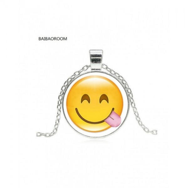 Glass Cabochon Cute Emoji Pattern Long Pendant