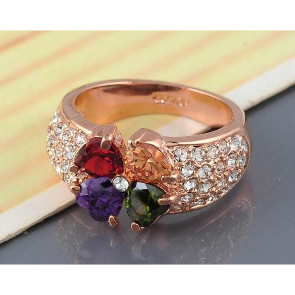 18K Rose Gold Plated Heart Clover Zircon Ring For Her A101