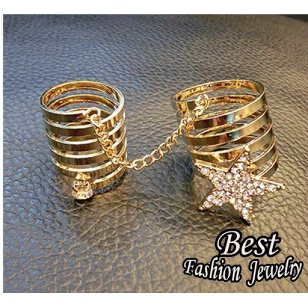 Link Chain Trendy Ring For Teenagers Beautiful Star Decoration Ring