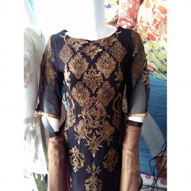 Black and Gold Embroidered Dress for Women