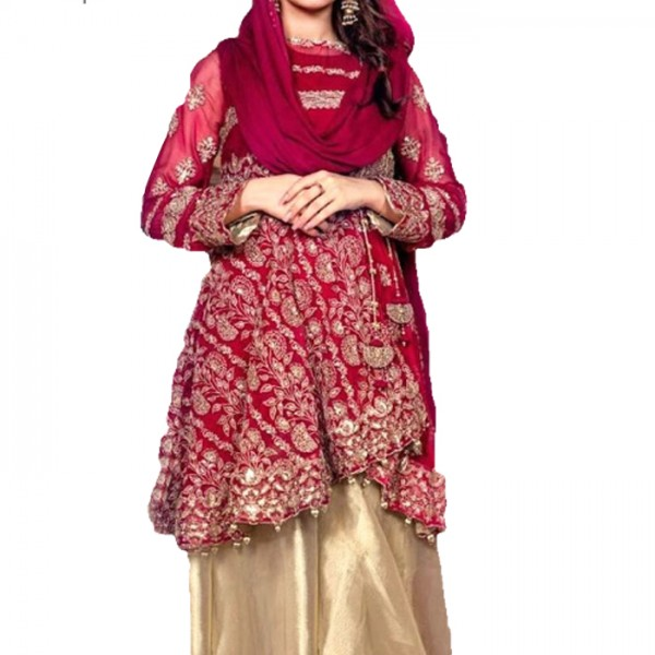 Women Designer Bridal Dress in Red and Gold