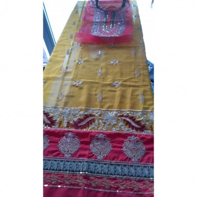 Yellow Color Mayoo Mehndi Bridal Dress Unstitched 3 Pieces