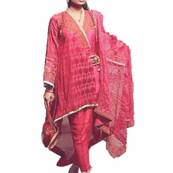 Women Designer Luxury Lawn Embroidered 3 Piece Dress in Pink Color