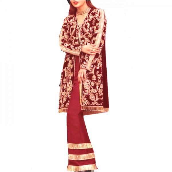 Women Designer Velvet Formal Dress Un Stitched 3 Piece