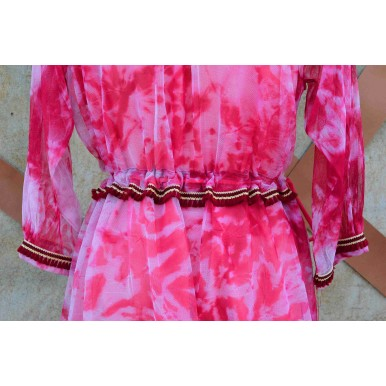 Belted Abstract Frock For Girls