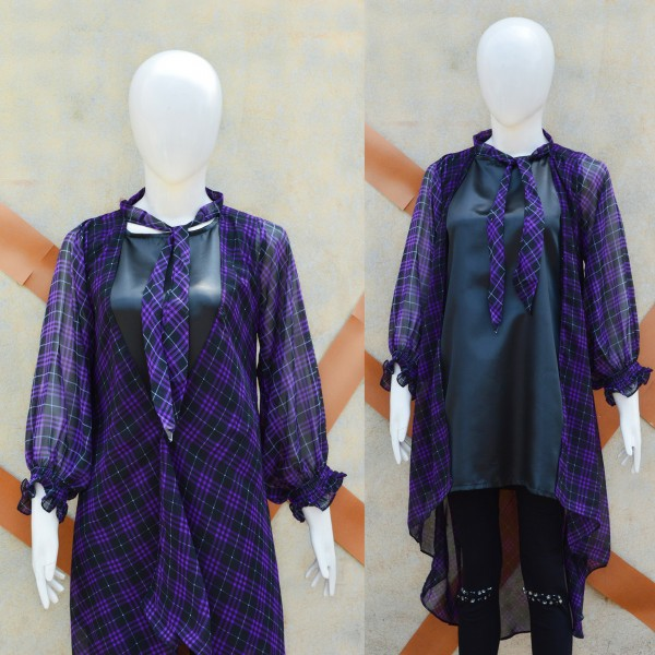 Purple Chiffon Check Gown With Black Inner for Her