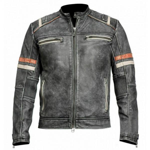 Mens Retro 2 Cafe Racer Biker Vintage Motorcycle Distressed Moto Leather Jacket