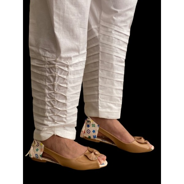 Off-White Color Women's Cotton Trouser - NFW