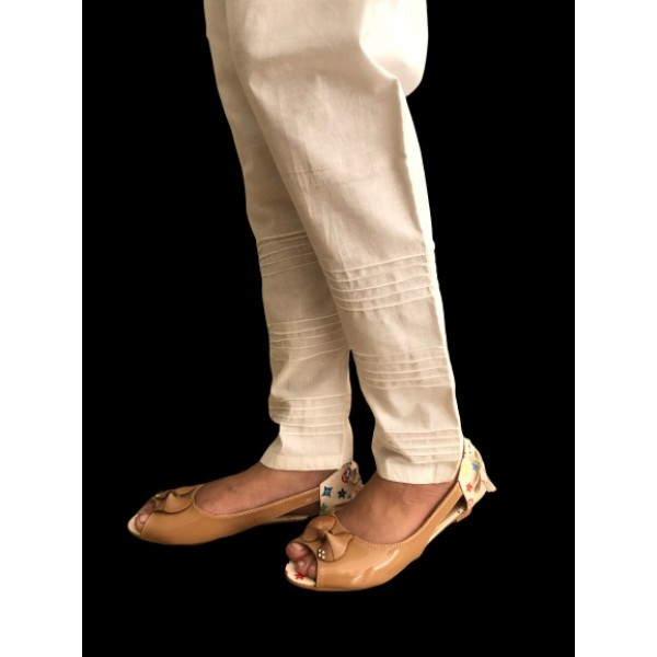 Latest desgin of  Off-White Cotton Trouser for Women - stitched, stylish