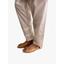 New Collection of Women's Off-White Cotton Trouser With Stylish Bottom