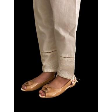 Styled uniquely Women's White Cotton Trouser - NFW